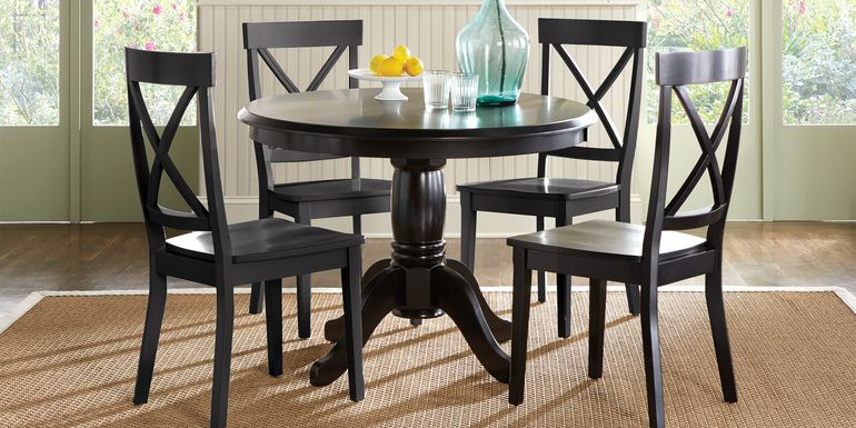Brynwood Black 5 Pc Round Dining Set with Black Chairs