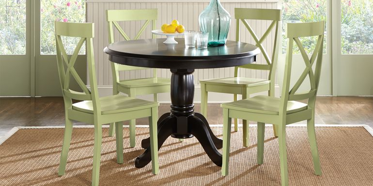 Brynwood Black 5 Pc Round Dining Set with Green Chairs