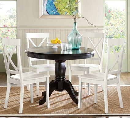 Brynwood Black 5 Pc Round Dining Set with White Chairs