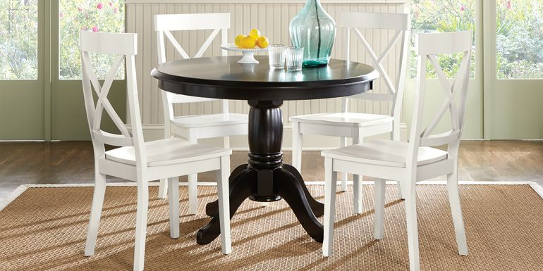 Brynwood Black 5 Pc Round Dining Set with White Chairs