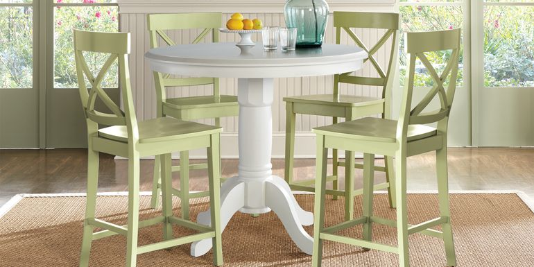 Brynwood White 5 Pc Counter Height Dining Set with Green Stools