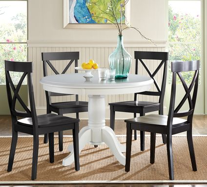 Brynwood White 5 Pc Round Dining Set with Black Chairs