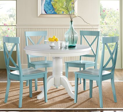 Brynwood White 5 Pc Round Dining Set with Blue Chairs