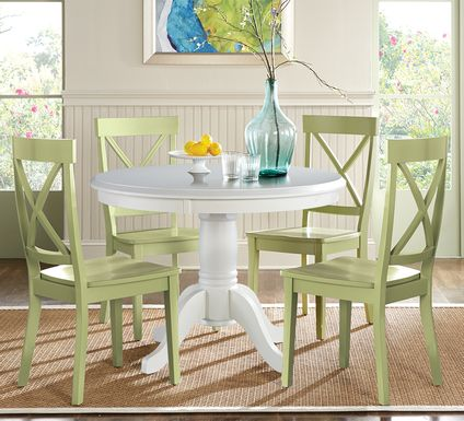 Brynwood White 5 Pc Round Dining Set with Green Chairs