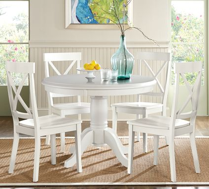 Brynwood White 5 Pc Round Dining Set with White Chairs