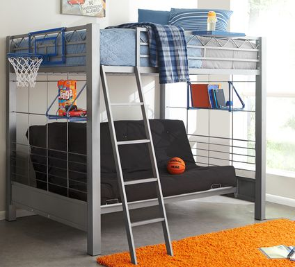 Build-a-Bunk Gray Full/Futon Loft Bed with Blue Accessories