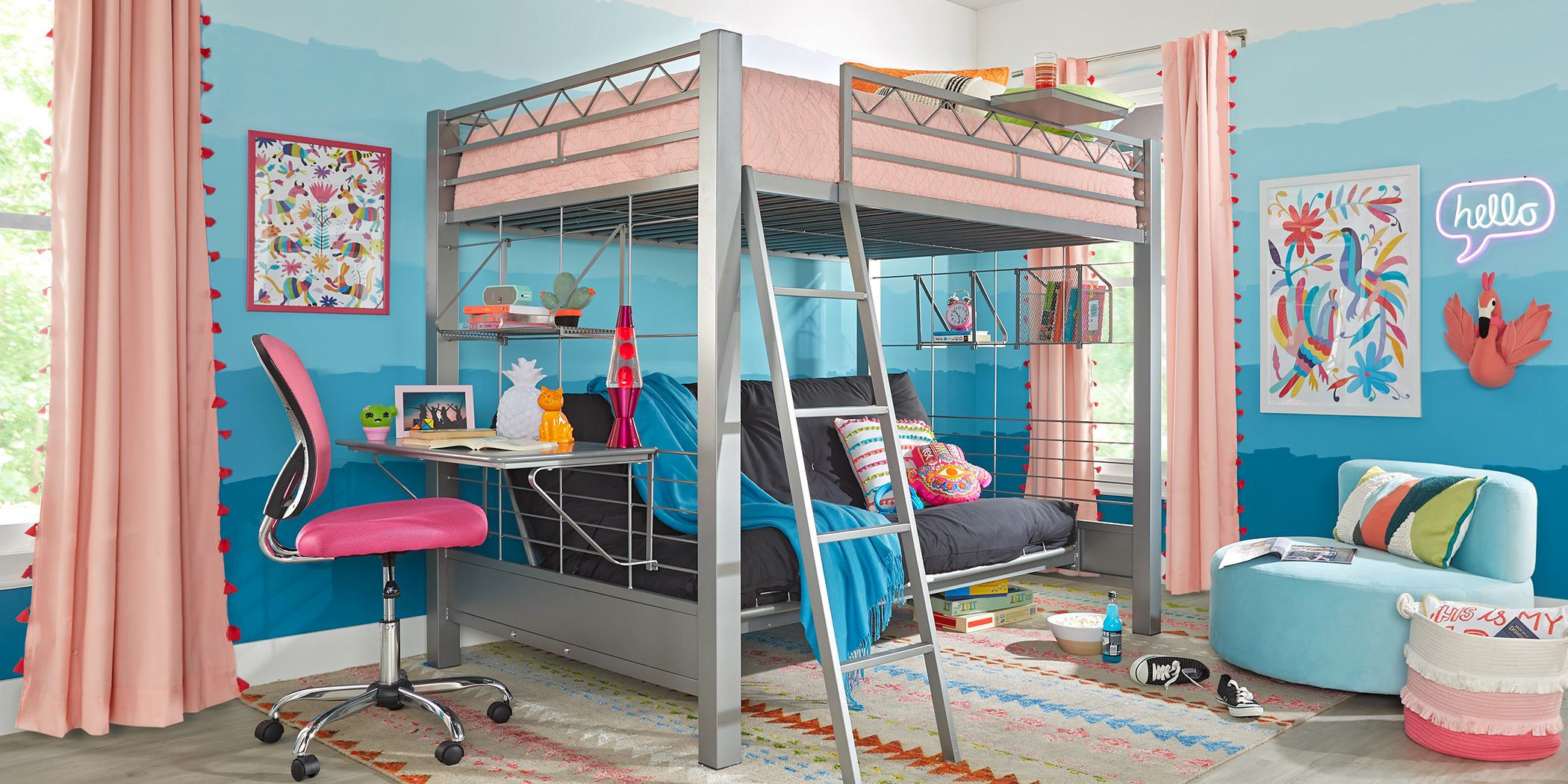 Build A Bunk Gray Full Futon Loft Bed With Gray Accessories Rooms To Go