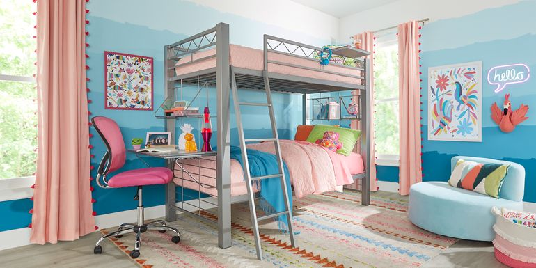 Build-A-Bunk Gray Twin/Twin Bunk Bed With Gray Accessories