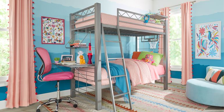 Build-a-Bunk Gray Twin/Twin Bunk with Gray Accessories