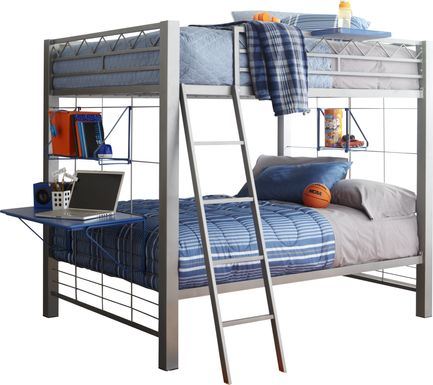 Build-a-Bunk Gray Full/Full Bunk Bed with Blue Accessories