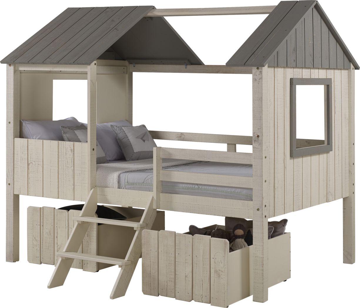 Bungalow Dreams Beige Full Jr. Loft Bed with 2 Beige Storage Drawers