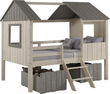 Bungalow Dreams Beige Full Jr. Loft Bed with 2 Gray Storage Drawers