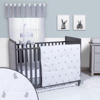 Bunnyville Gray 3 Pc Baby Bedding Set