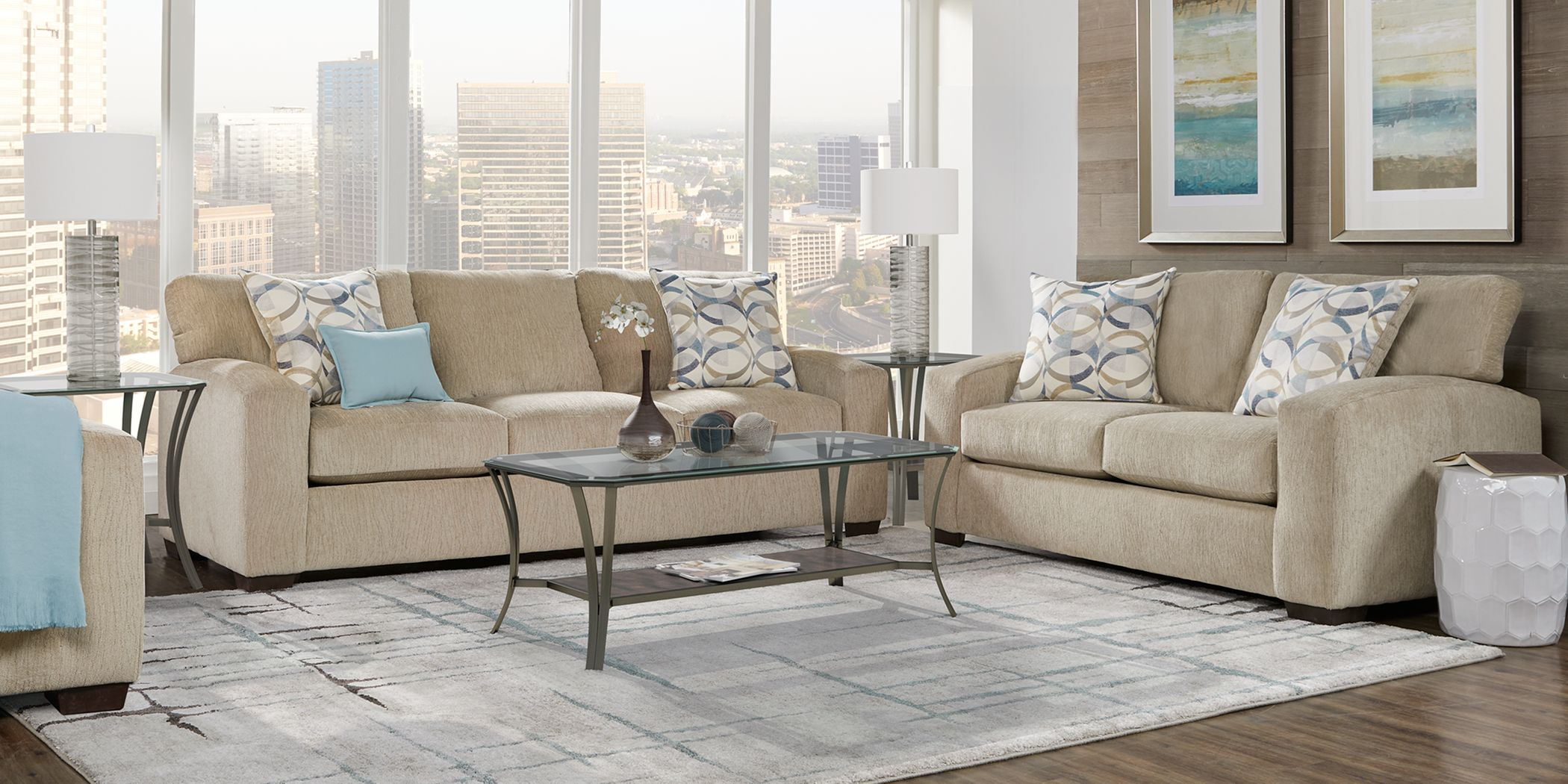 Burke Sandstone 7 Pc Living Room