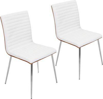 Burnsfield White Swivel Side Chair, Set of 2