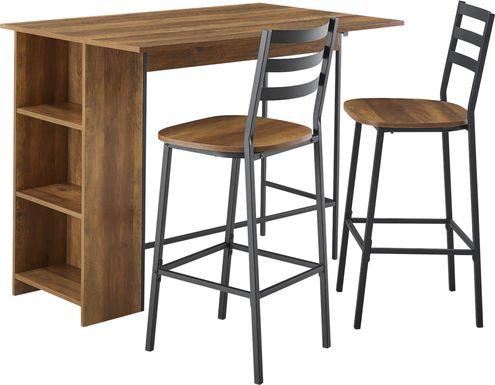 Burton Street Brown 3 Pc Counter Height Table Set