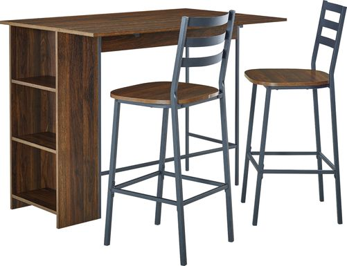 Burton Street Walnut 3 Pc Counter Height Table Set
