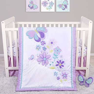 Butterfly Murmurs Purple 4 Pc Baby Bedding Set