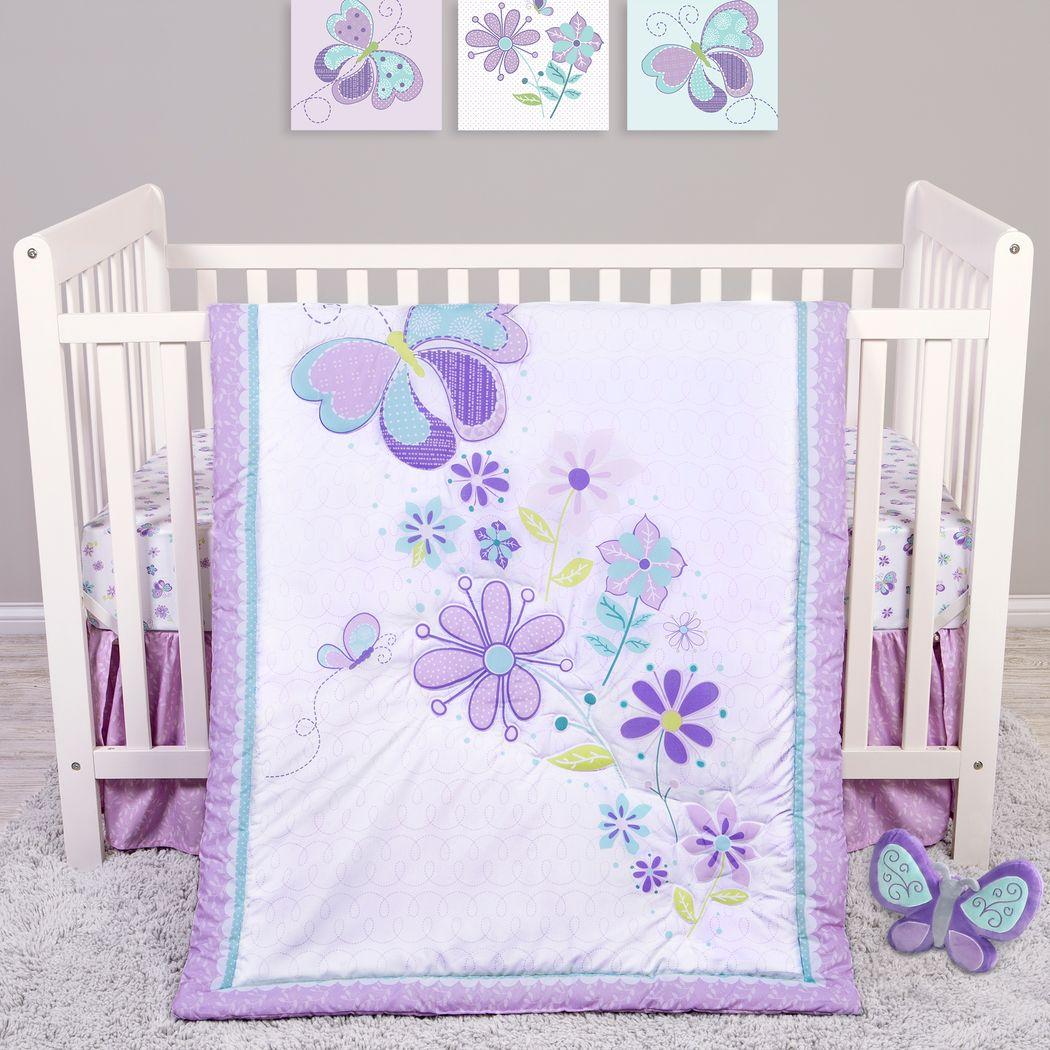 Butterfly Murmurs Purple 4 Pc Baby Bedding Set