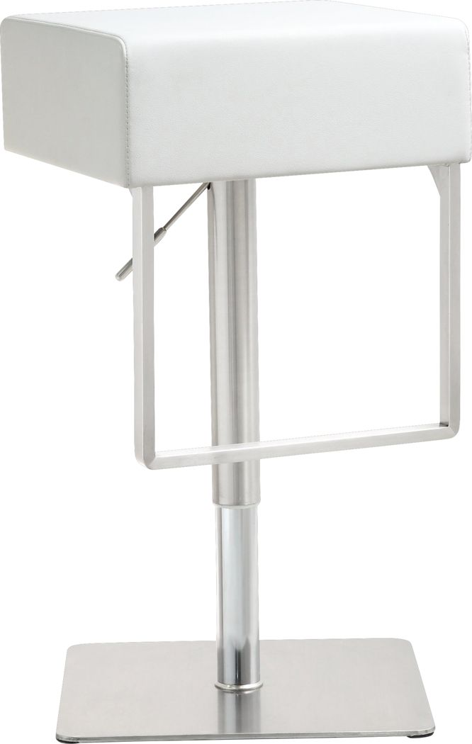 Cadiz White Adjustable Swivel Barstool