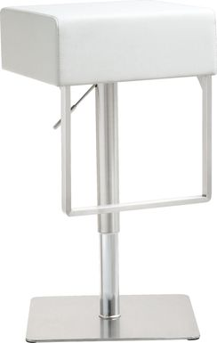 Cadiz White Adjustable Swivel Barstool