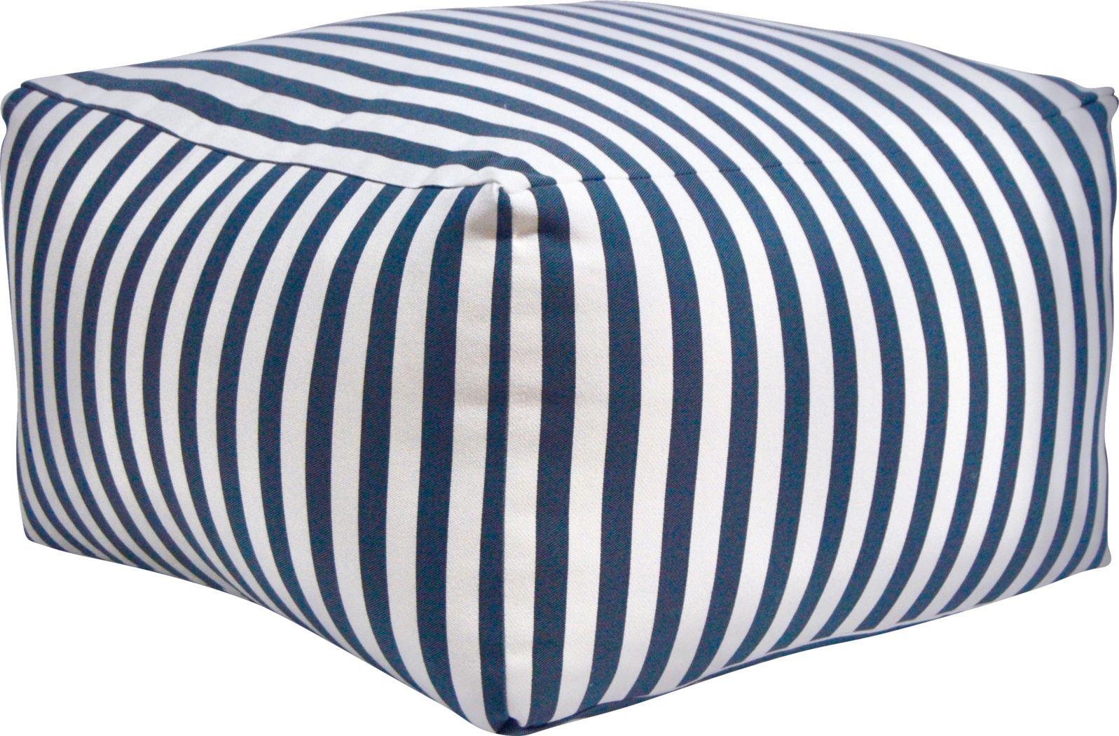 Caelus Black Striped Square Pouf