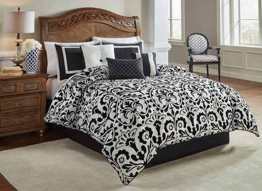 Caige Black 7 Pc Queen Comforter Set
