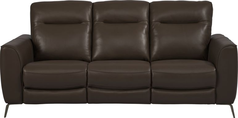 Calabra Chocolate Leather Dual Power Reclining Sofa