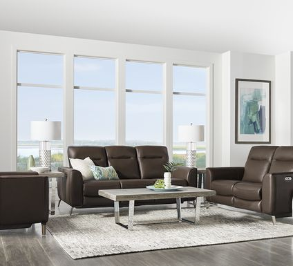 Calabra Chocolate Leather 3 Pc Living Room with Reclining Sofa