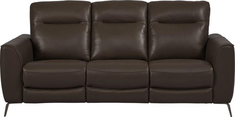 Calabra Chocolate Leather Dual Power Reclining Sofa