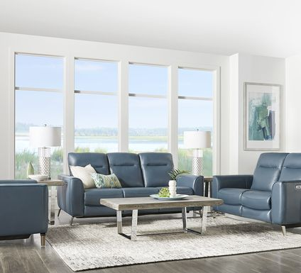 Calabra Ocean Leather 3 Pc Living Room with Reclining Sofa