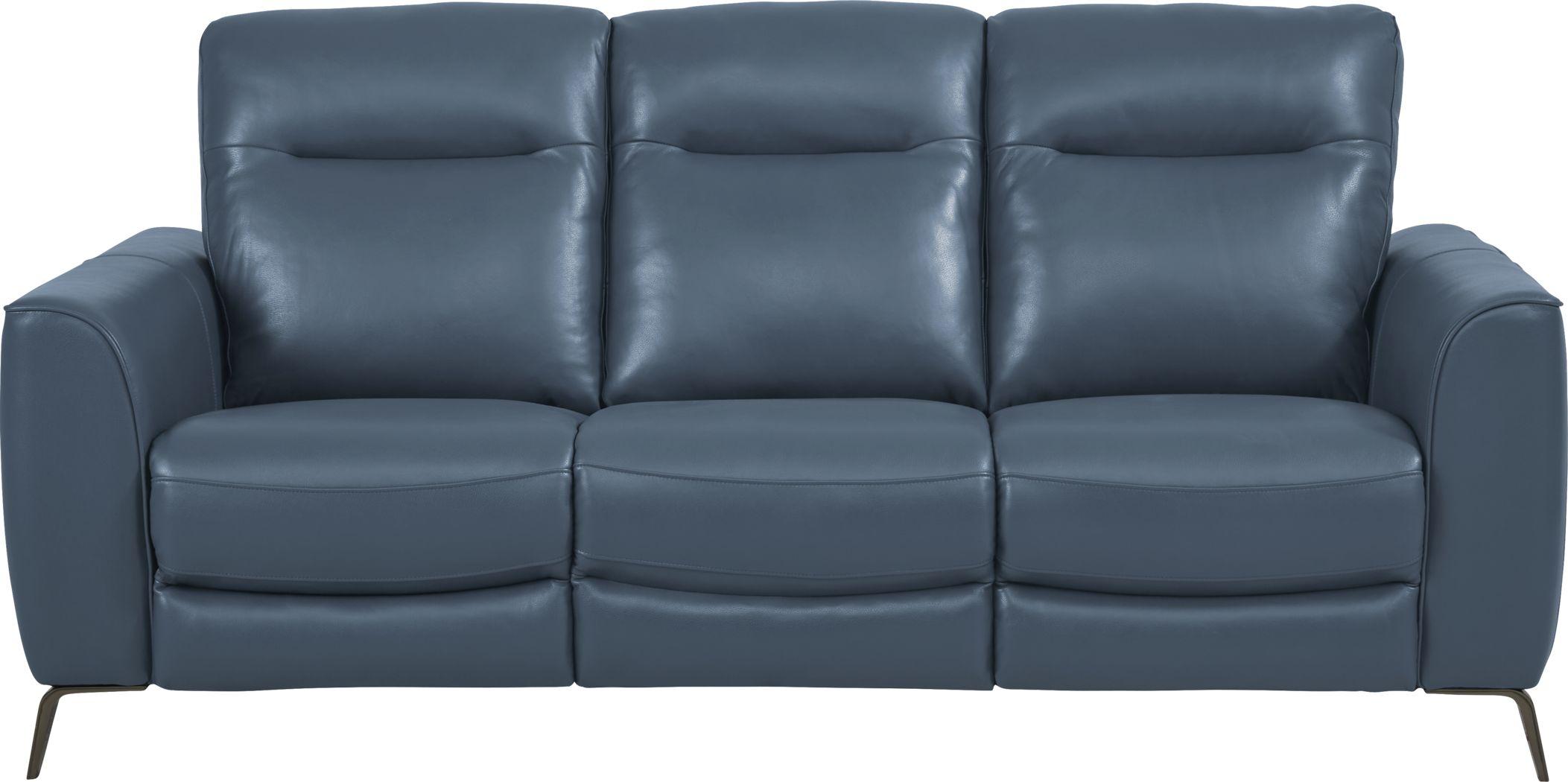 Calabra Ocean Leather Dual Power Reclining Sofa