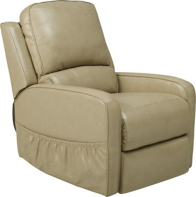 Calero Beige Leather Lift Chair Dual Power Recliner