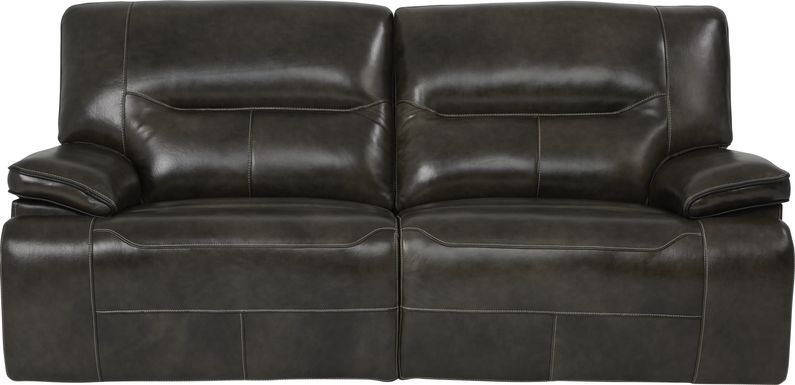 Cindy Crawford Home Caletta Gray Leather Reclining Sofa