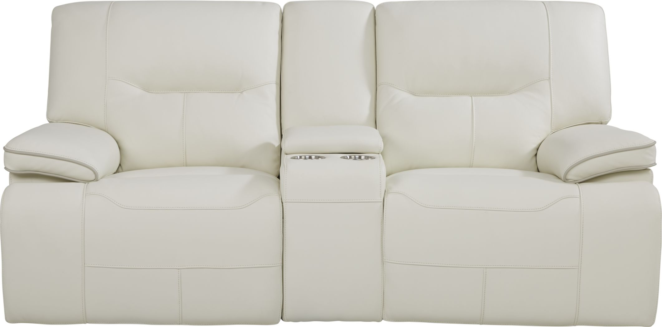 Picture of: Cindy Crawford Home Caletta Off White Leather Power Reclining Console Loveseat Rooms To Go