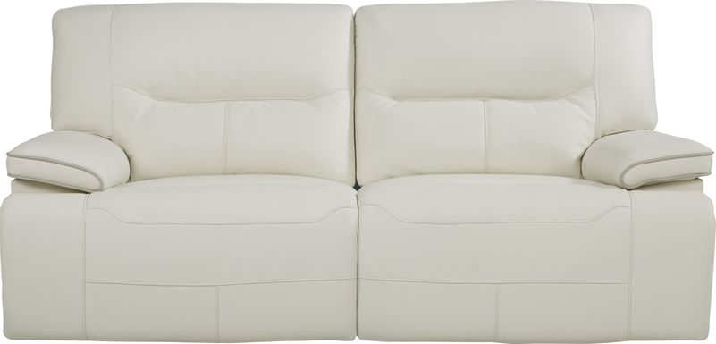 Cindy Crawford Home Caletta Off-White Leather Power Reclining Sofa