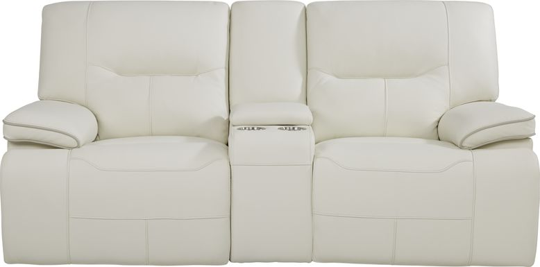 Cindy Crawford Home Caletta Off-White Leather Reclining Console Loveseat