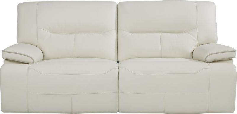 Cindy Crawford Home Caletta Off-White Leather Reclining Sofa