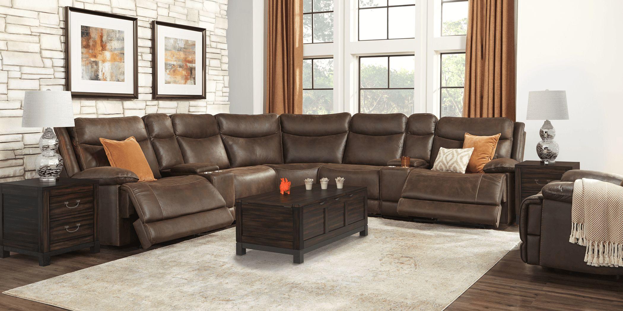 Calverton Chocolate 9 Pc Power Reclining Sectional Living Room
