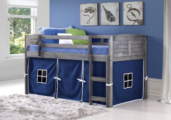 Camp Hideaway Gray Twin Jr. Loft Bed with Blue Tent
