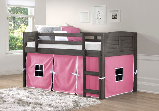 Camp Hideaway Gray Twin Jr. Loft Bed with Pink Tent