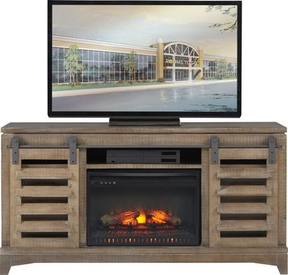Canoe Creek II Pebble 65 in. Console with Electric Log Fireplace