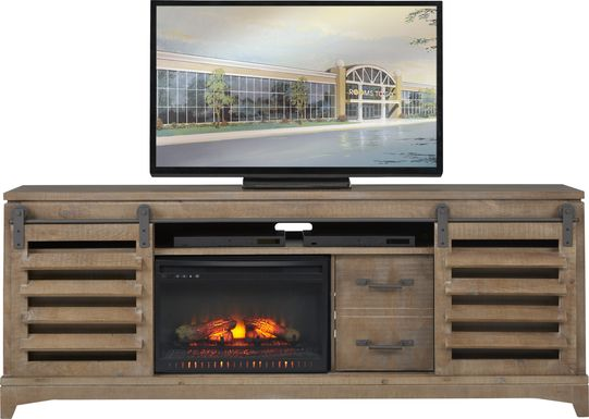 Canoe Creek II Pebble 88 in. Console with Electric Log Fireplace