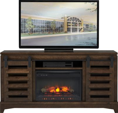 Canoe Creek II Tobacco 65 in. Console with Electric Log Fireplace