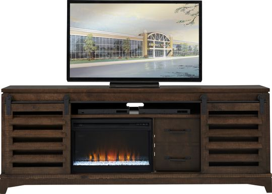 Canoe Creek II Tobacco 88 in. Console with Electric Fireplace
