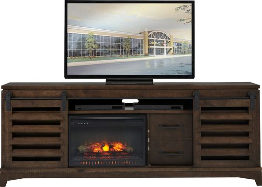 Canoe Creek II Tobacco 88 in. Console with Electric Log Fireplace