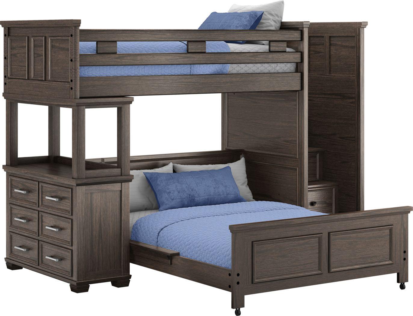 Canyon Lake Java Twin/Full Step Loft with Dresser