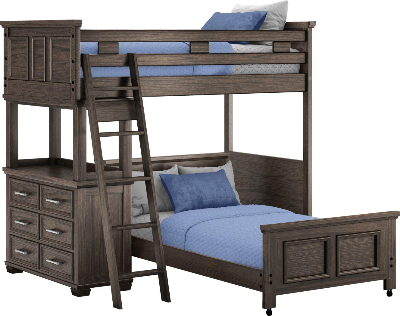 Canyon Lake Java Twin/Twin Loft with Dresser