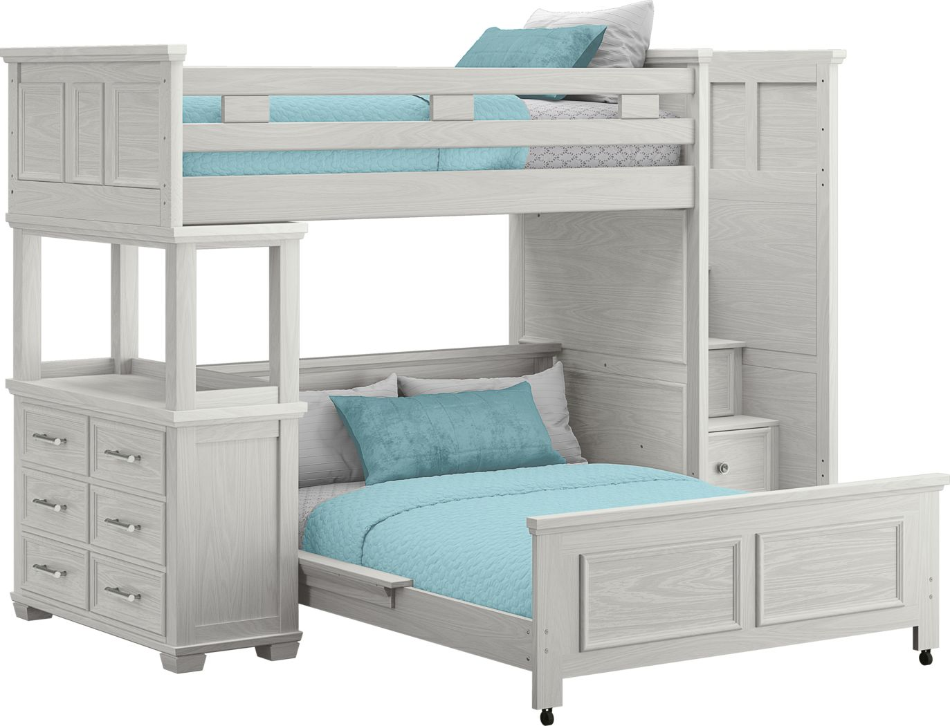Canyon Lake Ash Gray Twin/Full Step Loft with Dresser
