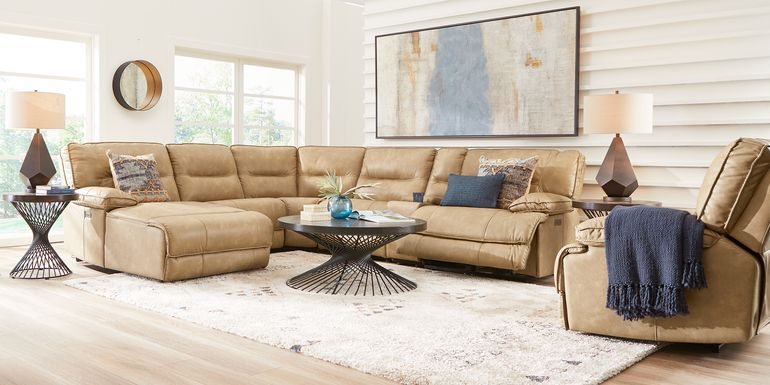 Caranova Camel 6 Pc Dual Power Reclining Sectional with Chaise
